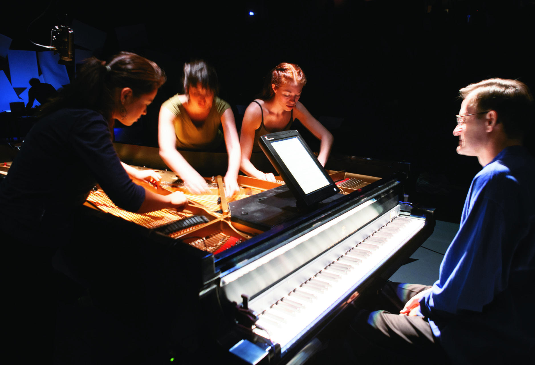 Scene from Rosenboom's concert-length work Bell Solaris—Twelve Metamorphoses in Piano Theater composed in 1998 and produced in 2005 at REDCAT in collaboration with theater director Travis Preston.