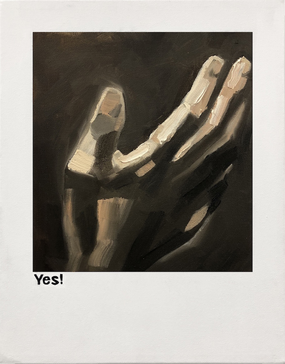 Yes! (Caravaggio, The Conversion of Saint Paul) (2018) by Jennifer Remenchik (Art MFA 15). Painting on canvas.