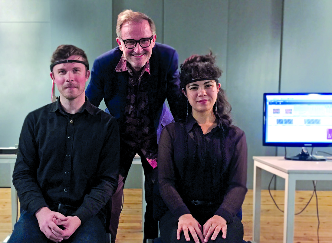 Brainwave performers William Hutson (left) and Micaela Tobin (right) with Rosenboom at Janacek Academy of Music and Performing Arts, Brno, Czech Republic, 2015, performing his Portable Gold and Philosophers' Stones (Deviant Resonances).
