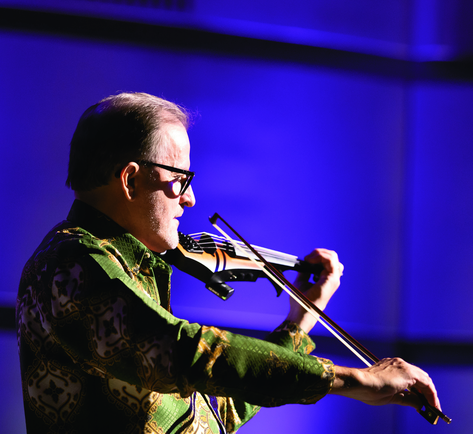 Rosenboom performing on 5-string electric violin at the concert Propositional Music at the Wild Beast during CalArts Weekend in 2019.