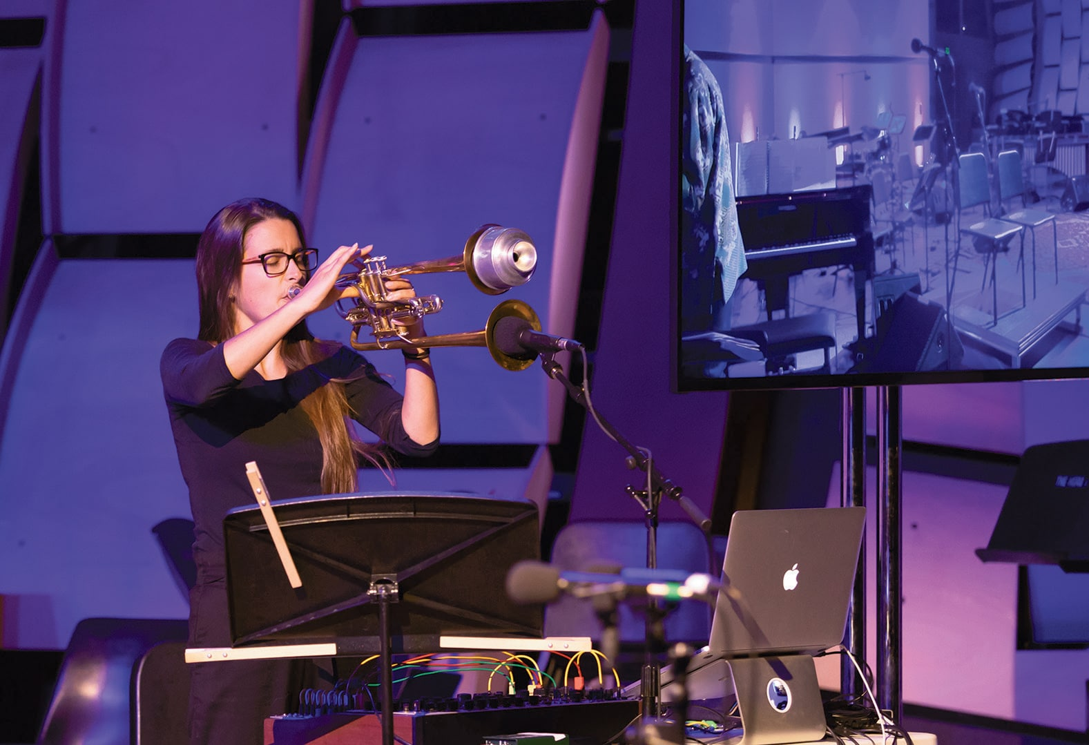 Sarah Belle Reid (MFA 15 and DMA Candidate) performs at David Rosenboom's Portrait Concert, Propositional Music.