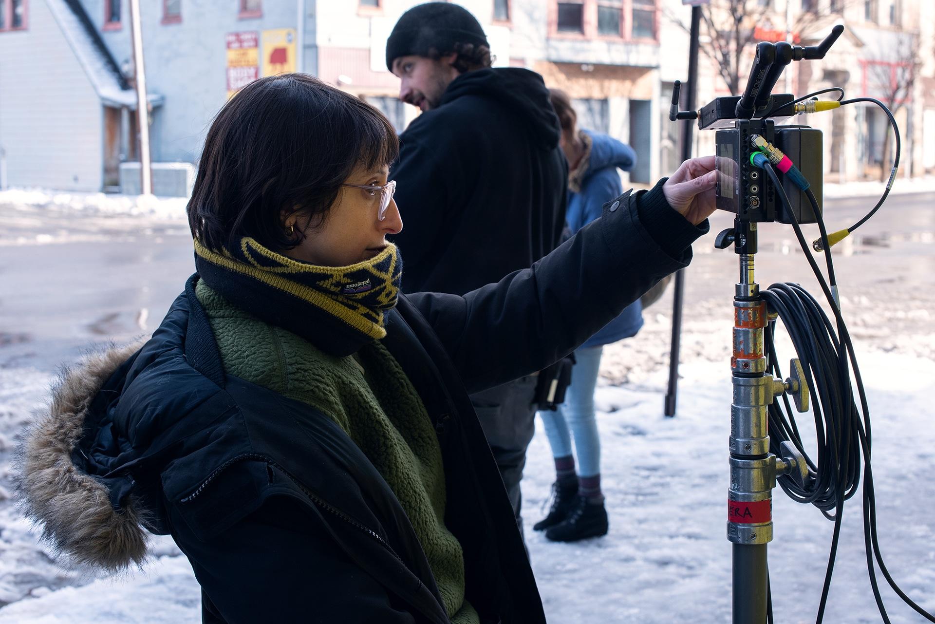Director Eliza Hittman (Film/Video MFA 10) on the set of her film Never Rarely Sometimes Always.