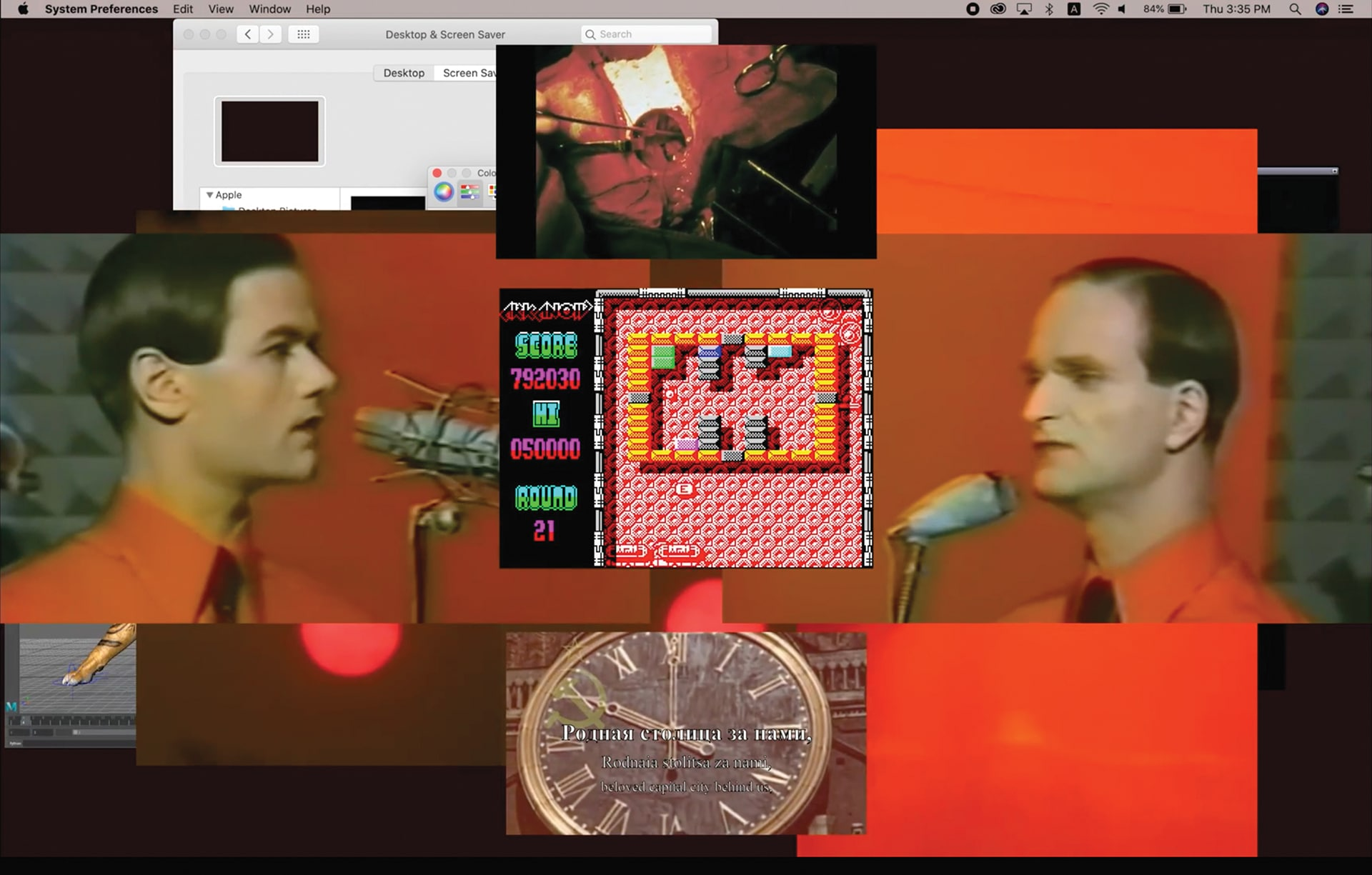 Screen shots of Shiqi Zhang and Heehyun Choi's desktop films created for Rebecca Baron's The Essay Film course.