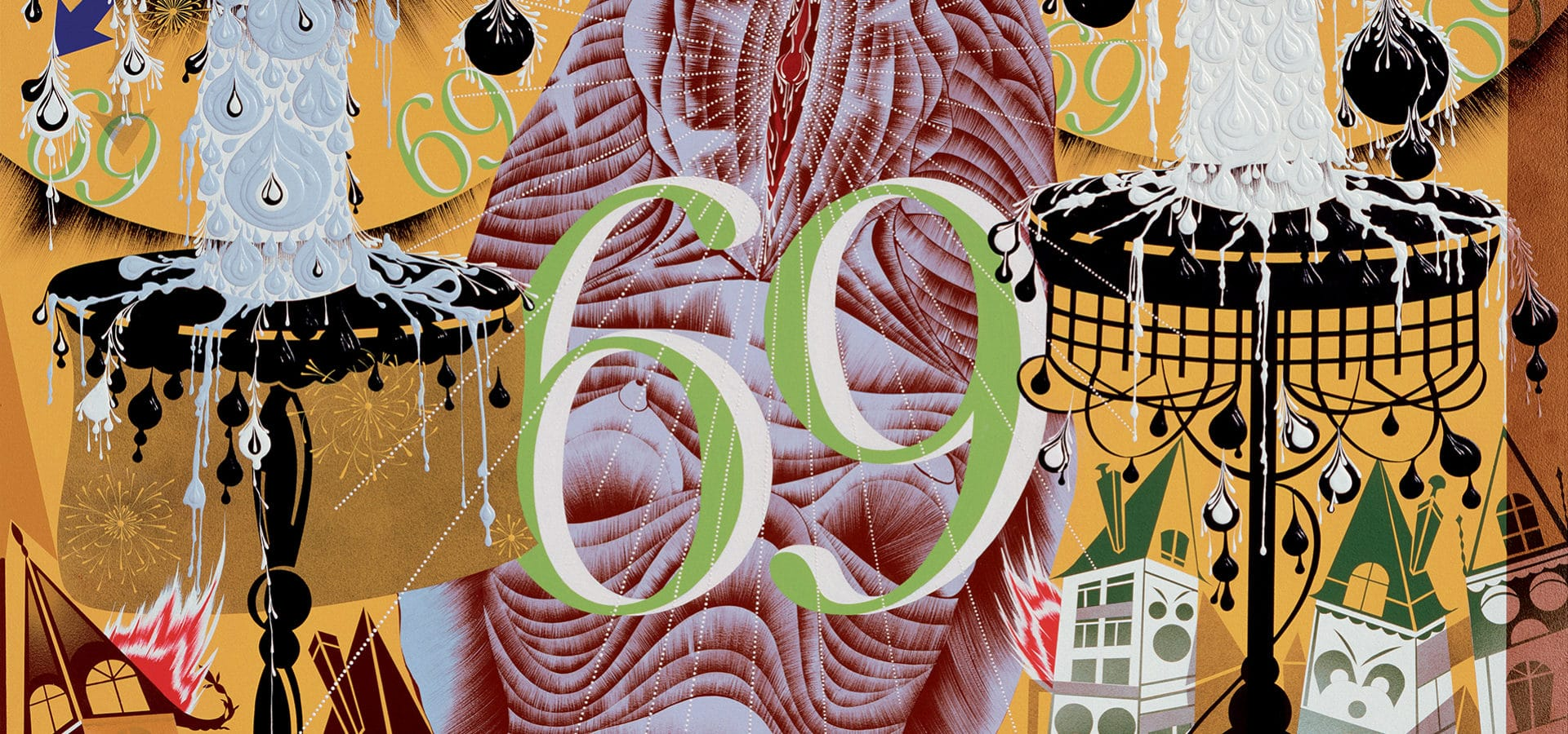 Transfigurative and Needy, 1991, acrylic and enamel on mahogany panel.