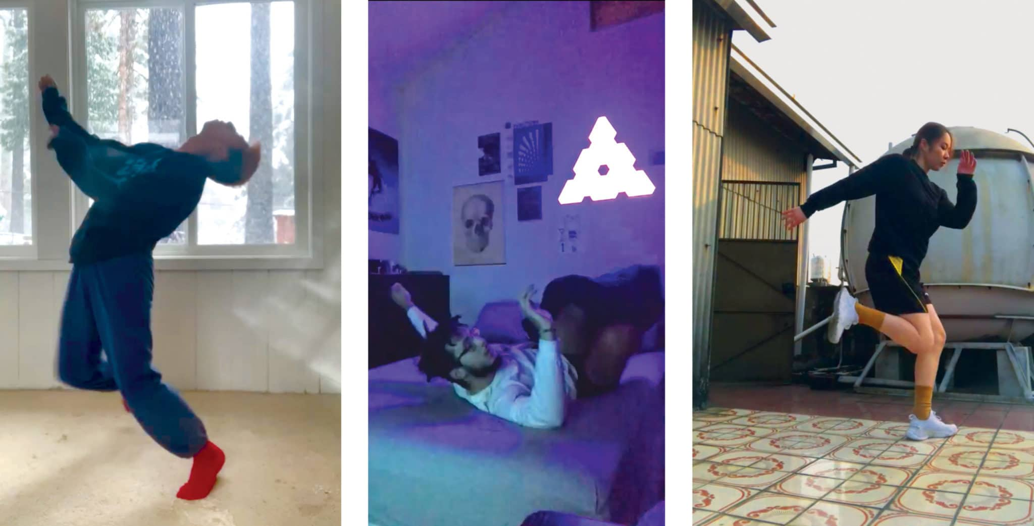 Stills from dance videos created by Emilio Wettlaufer, Justin Farmer, and Tzong-Han (Hanna) Wu for Nina Flagg's Hip Hop Composition and Hip Hop Technique class
