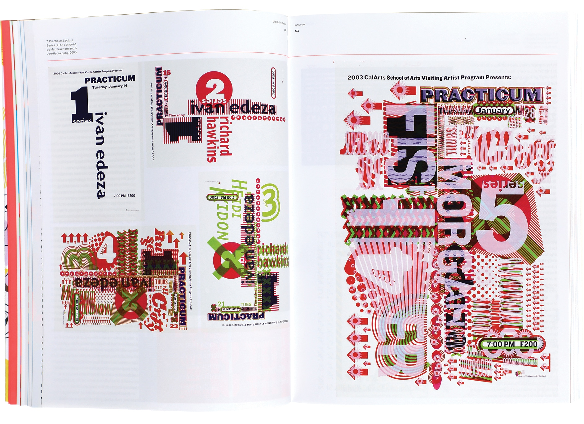 Spread from Inside Out & Upside Down: Posters from CalArts, 1980–2019, published in spring 2020.