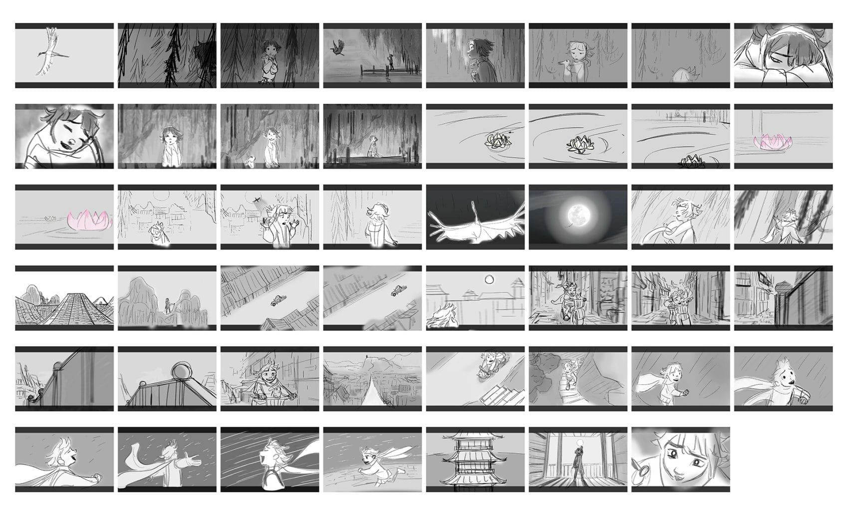 storyboard sequence from Over the Moon film
