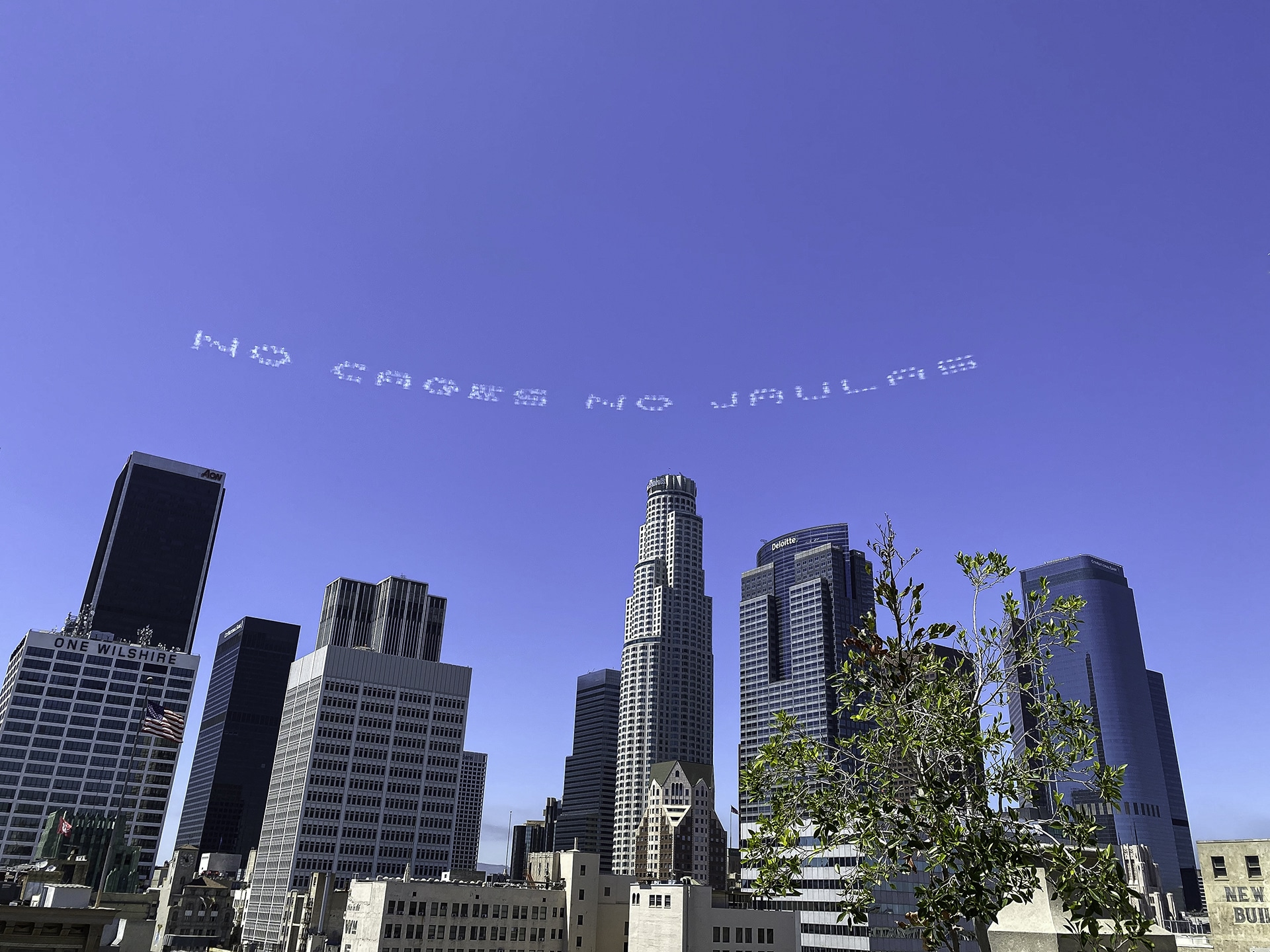 NO CAGES NO JAULAS is skytyped of downtown L.A.