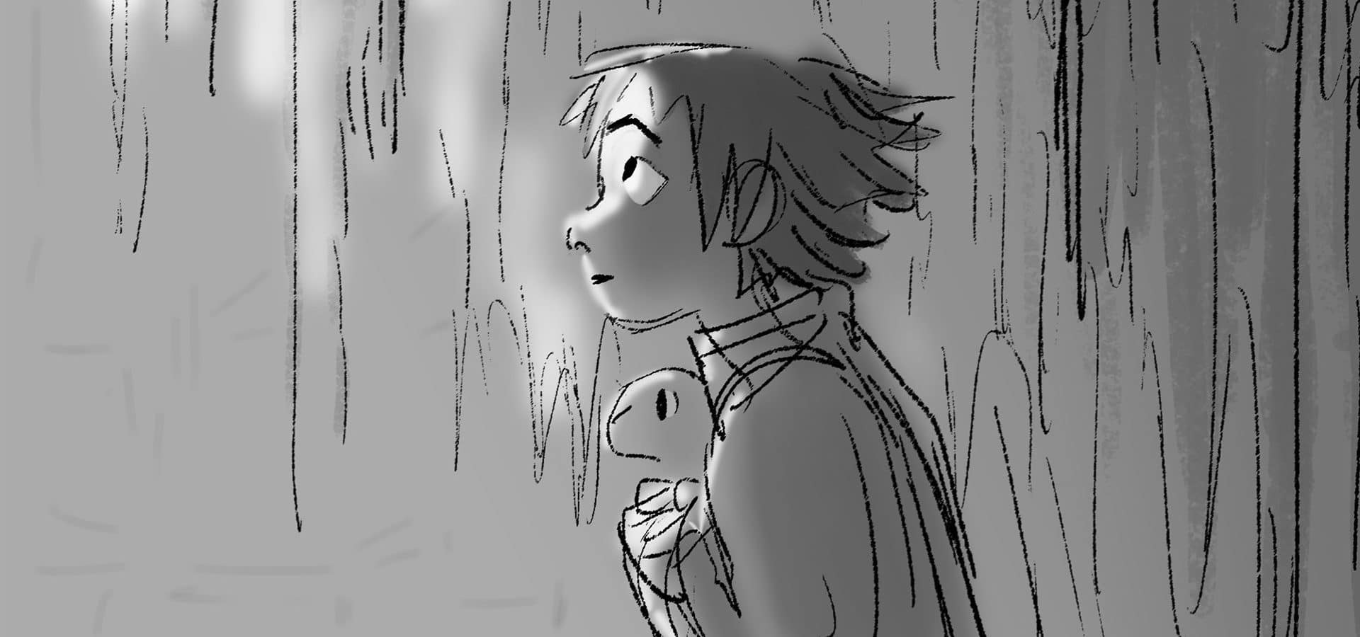 storyboard of Fei Fei in profile in Over the Moon