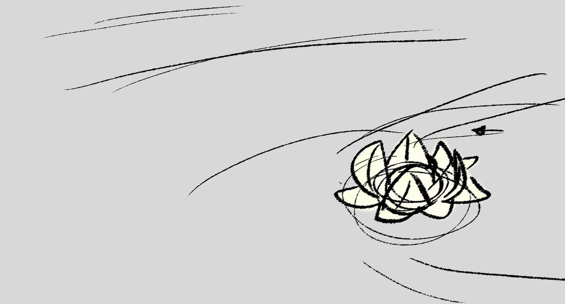 Minkyu Lee's storyboard of a lily pad in Over the Moon. | Image: Courtesy of Netflix.