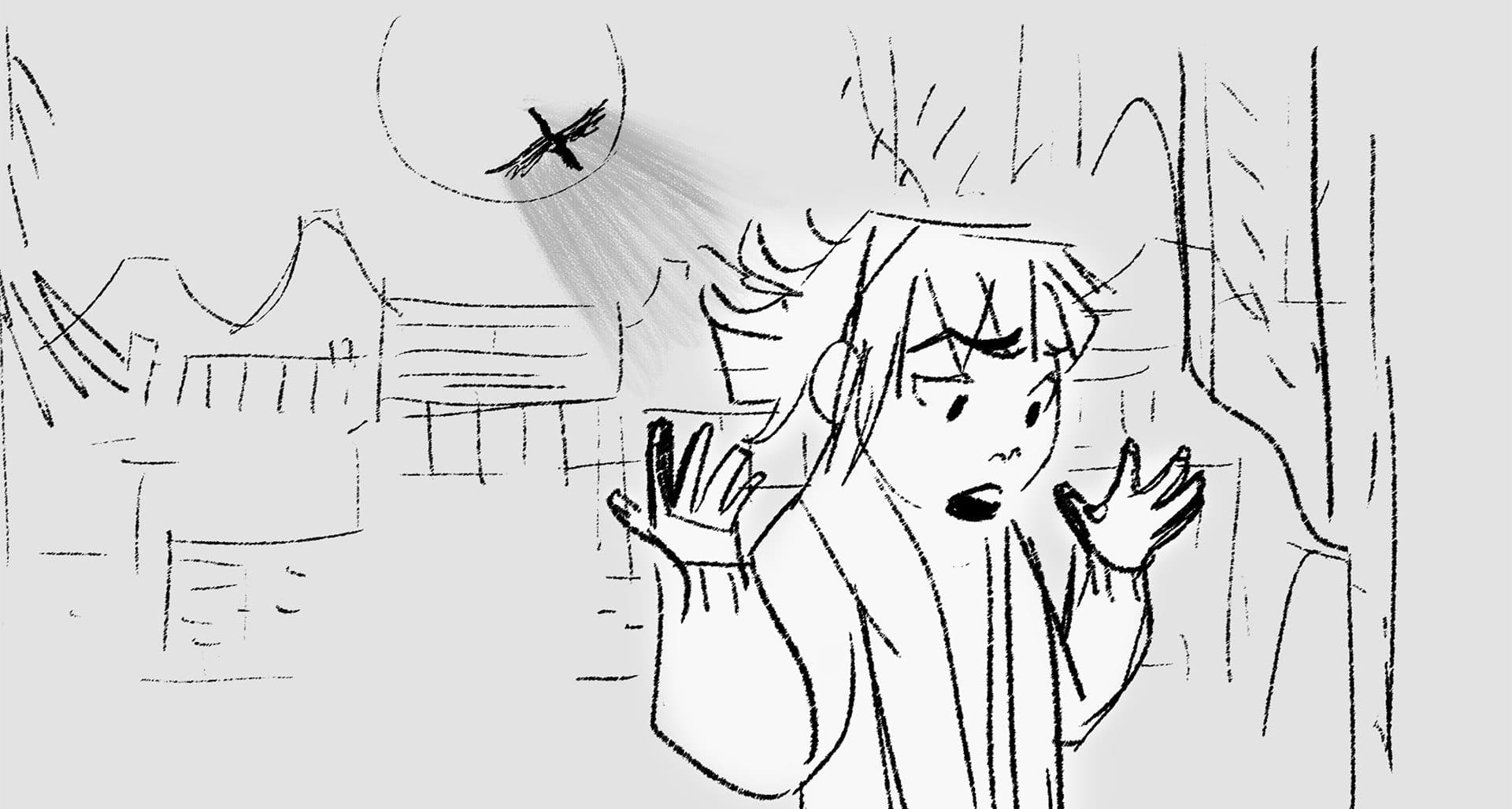 storyboard image of girl with moon and bird above