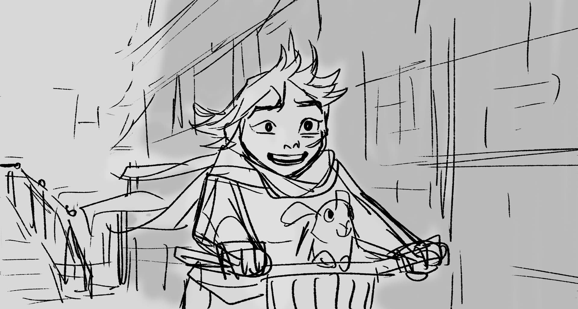 storyboard image of girl riding a bike
