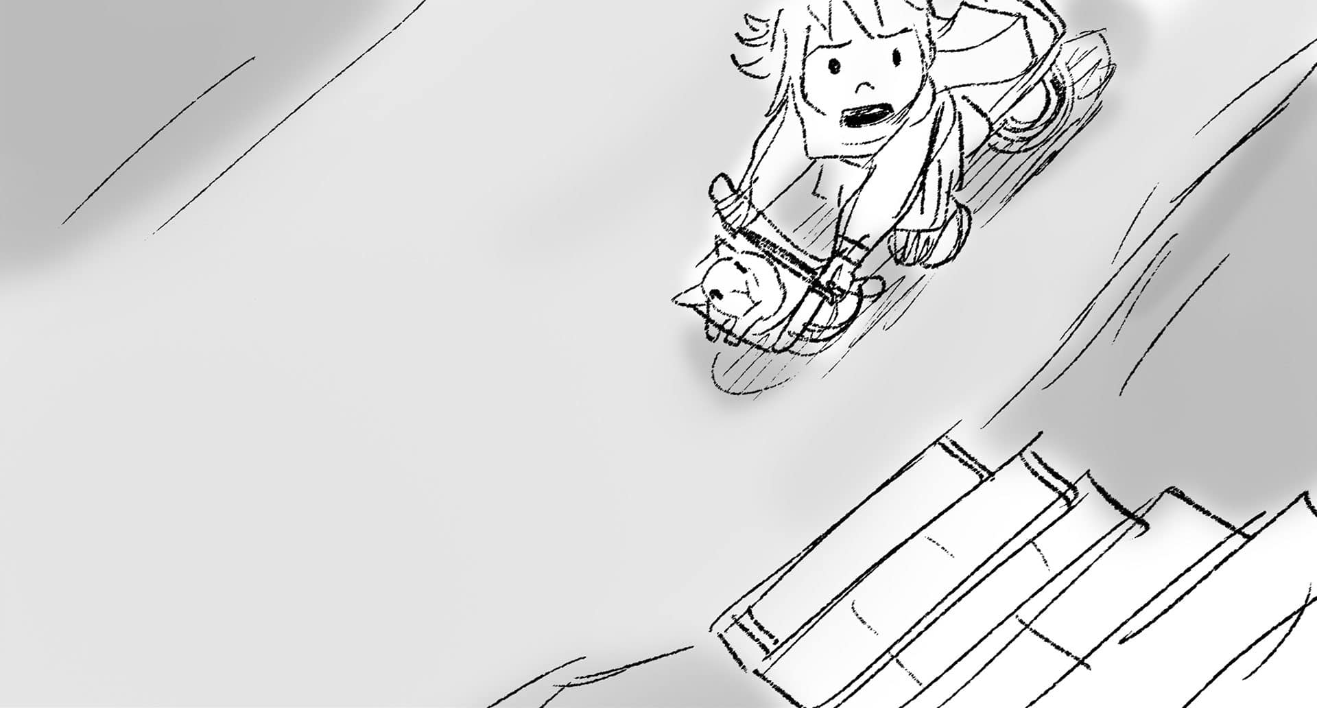 storyboard image of girl riding bike