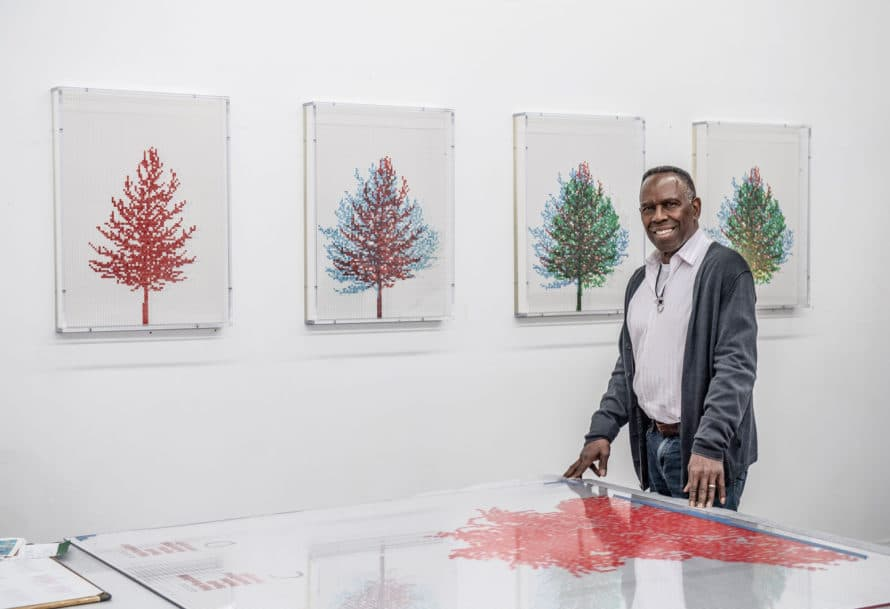 photo of Charles Gaines in art gallery